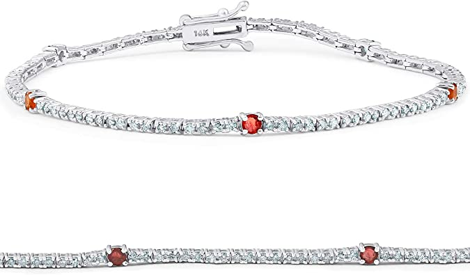 14K White Gold Diamond Evil Eye Bracelet White Nazar 7.5 Inches