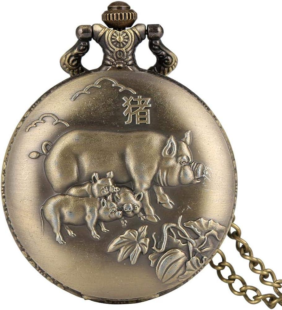 LEYUANA Reloj de Collar de Bronce a la Antigua usanza, Zodiaco Retro Rata/Buey/Tigre/Serpiente/Mono/Perro diseño Reloj Colgante Afortunado