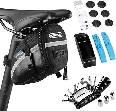 Lixada Bolsa de Sillín para Bicicleta con Herramientas de Reparación 14/16 en 1 Multifuncional Kit Pinchazos Bicicleta (Negro,16 en 1-Kit 2): Amazon.es: Deportes y aire libre
