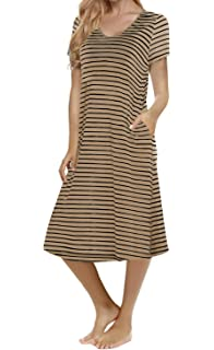 0e8b31ab163 Women s Casual Striped Loose Criss Cross Short Sleeve T-Shirt Midi Dress  with Pocket