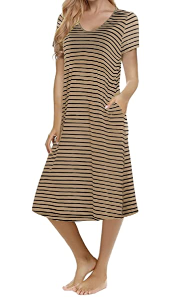 868966a91e74 Image Unavailable. Image not available for. Color: Women's Casual Striped  Loose Criss Cross Short Sleeve T-Shirt Midi Dress with Pocket (