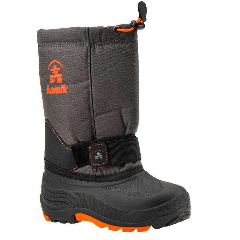 Kamik Boys' ROCKETW Snow Boot, Charcoal/Flame, 2 Wide US Little Kid