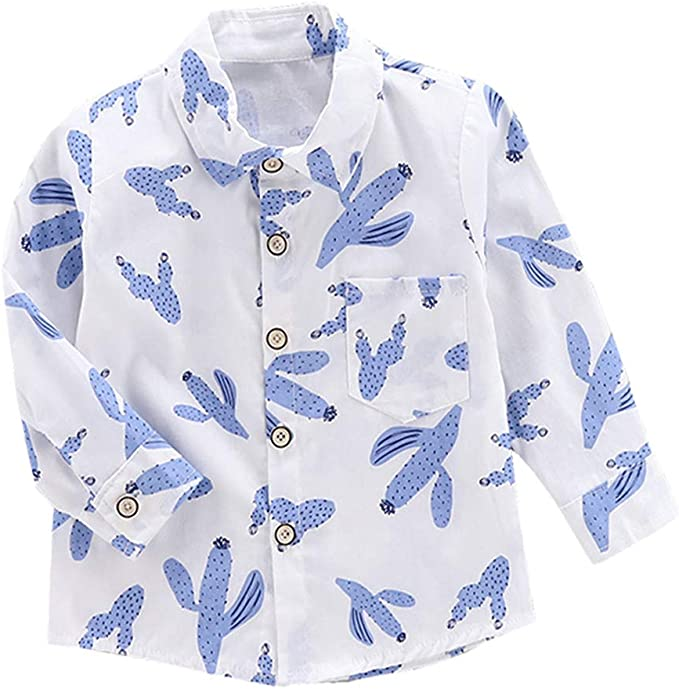 FCQNY Camisa Vacaciones Verano para niños pequeños Camiseta Manga Larga con Estampado Cactus: Amazon.es: Ropa y accesorios