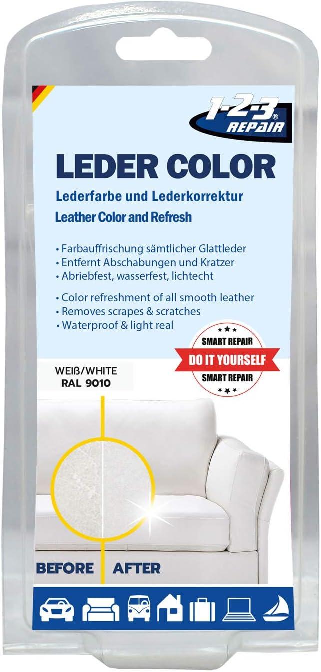 1-2-3REPAIR Tinte para cuero y cuero sintético, Blanco