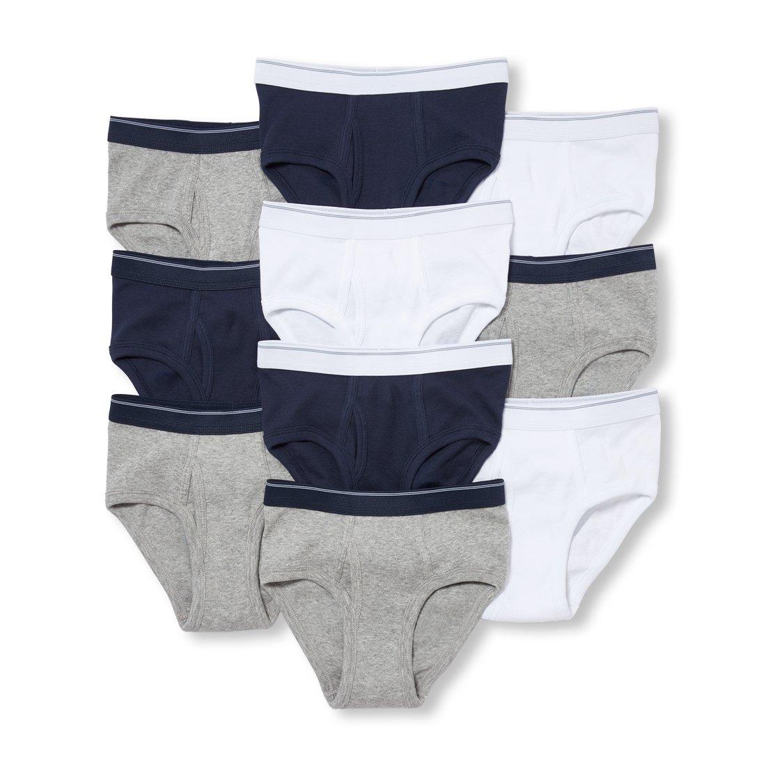 The Children's Place Big Boys' 10 Pack Underwear, Heather/T Mist, M (7/8)