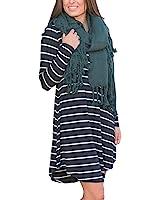 HOOYON Women's Fall Long Sleeve Casual Striped Dress With Pockets