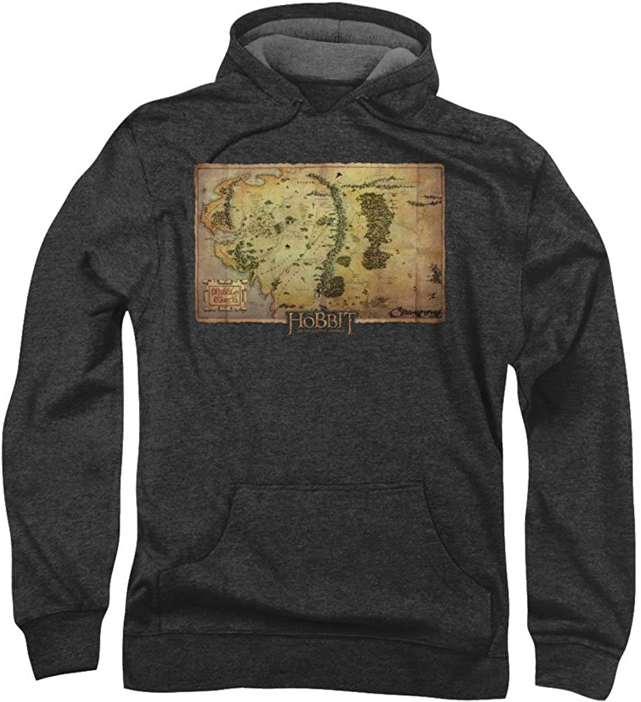 The Hobbit - Mens Middle Earth Map Hoodie: Amazon.co.uk ...
