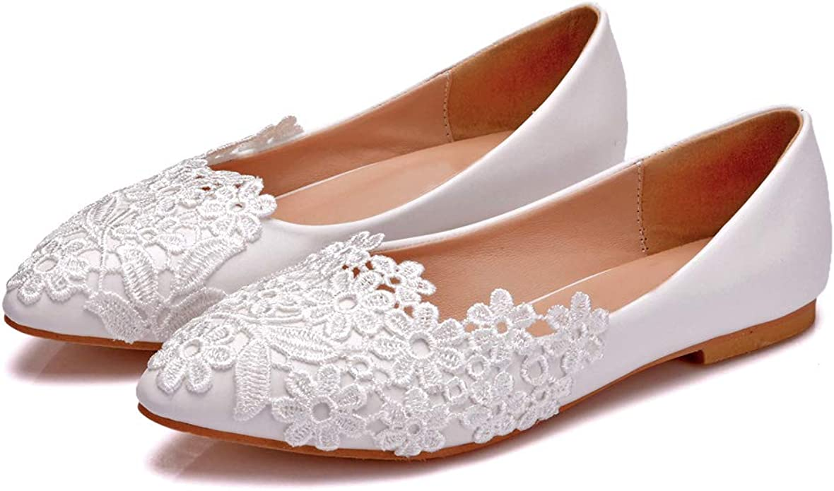 Amazon.com   VINEIL Women's Flats Ballet Pointed Toe Handmade White Lace  Wedding Party Flats Comfortable Shoes for Women Girls 8M   Flats