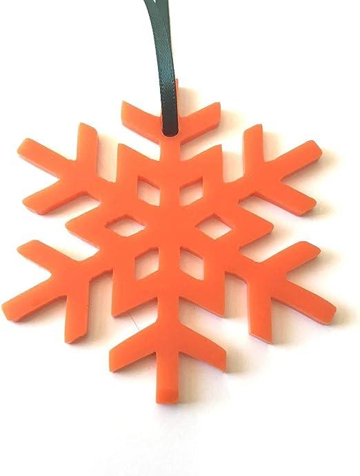 Orange Crystal Snowflake Christmas Tree Decorations /& Green Ribbon x 10