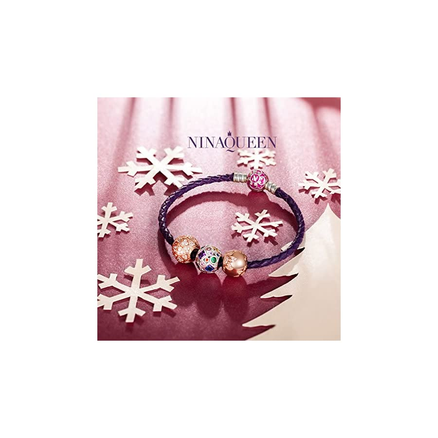 NINAQUEEN 925 Sterling Silver Love Heart Rose Gold Plated Charms for Pandöra Bracelets Necklaces Pendants Birthday Anniversary Valentines Jewelry Gifts For Women Wife Mom in law Niece Daughter Friends