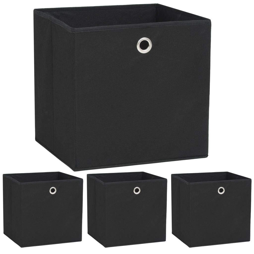 vidaXL 4x Aufbewahrungsbox Vliesstoff 32x32x32cm Schwarz Faltbox Regalkorb