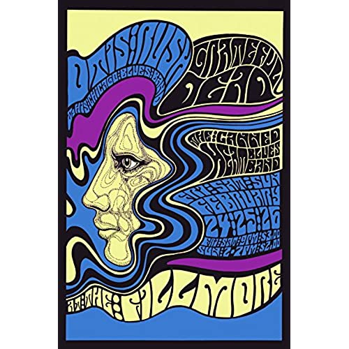 Rock And Roll Music Concert Fillmore Bands Grateful Dead Canned Heat Otis Rush Chicago Blues Band Vintage Poster Repro 12 X 16 Image Size