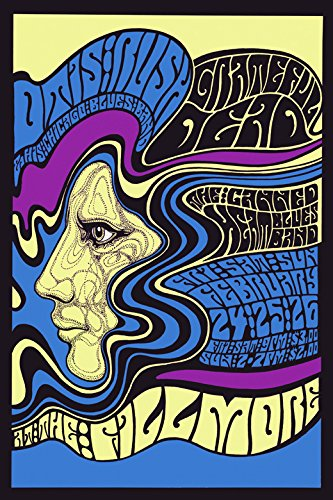 Rock and Roll Music Concert Fillmore Bands. Grateful Dead. Canned Heat, Otis Rush, Chicago Blues Band Vintage Poster Repro 20