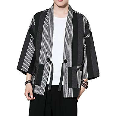 92ad9d7b4212fc Men Japanese Kimono Cardigan Yukata Coat Retro Striped Cotton Linen Top  Black