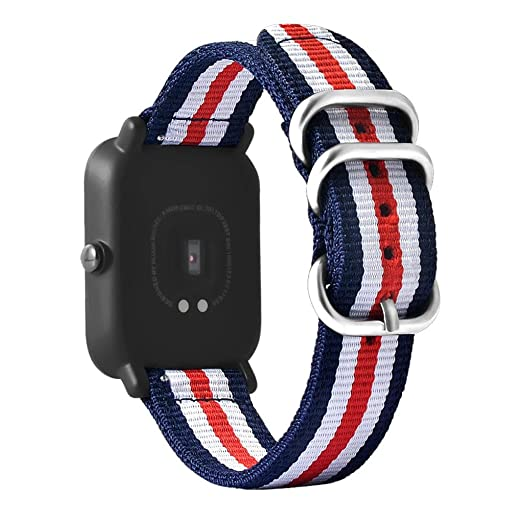 Alonea Canvas Watch Band Strap With Buckle Connector For Xiaomi Amazfit Sport Smartband (As Picture