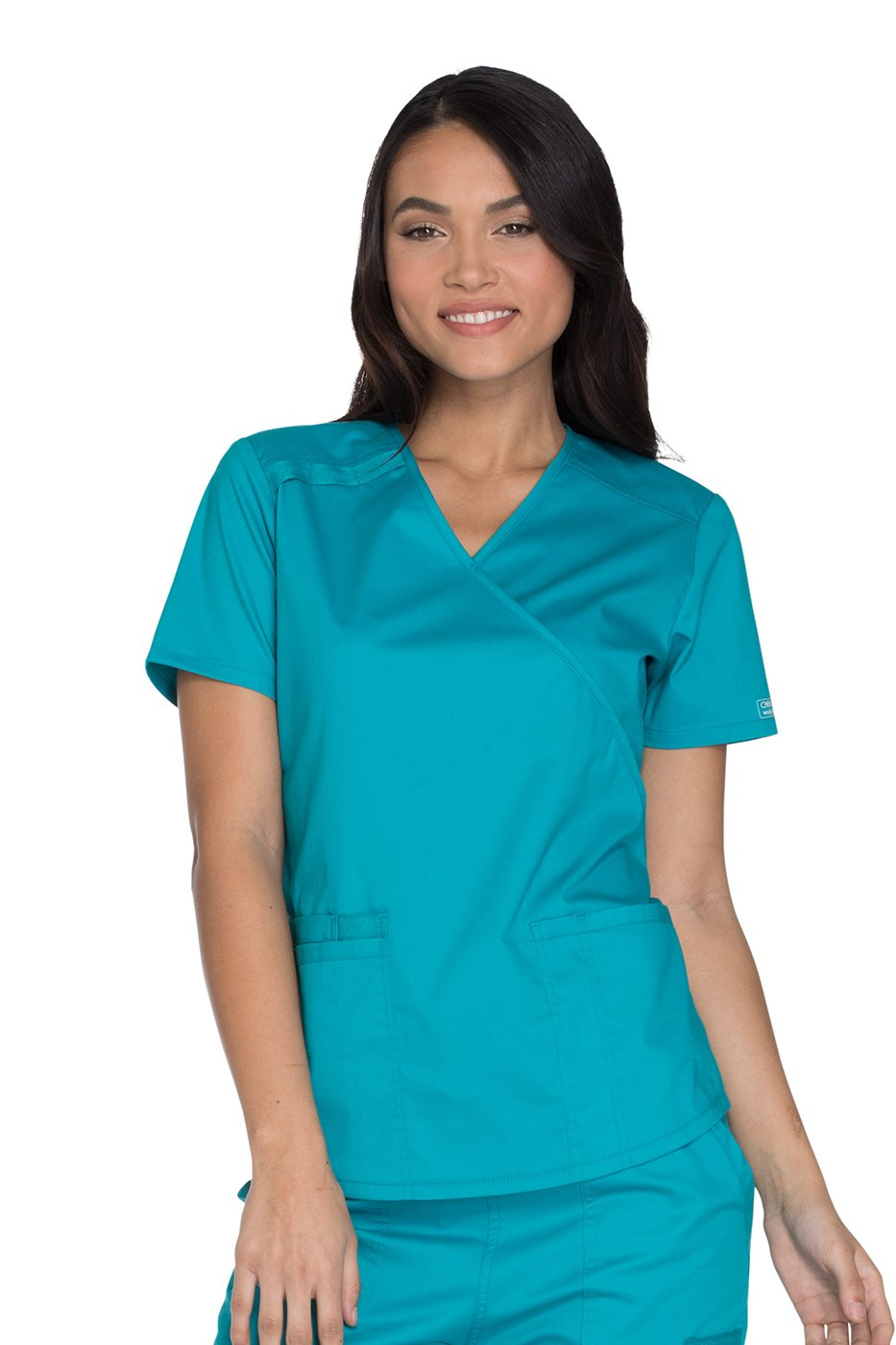 Cherokee Workwear Core Stretch WW640 Women's Mock Wrap Solid Scrub Top (Galaxy Blue, XXXXX-Large)