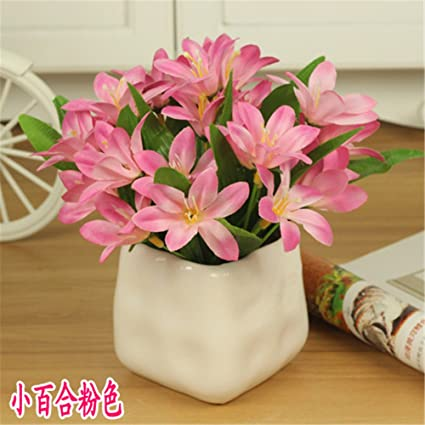 Amazon Mesmj Artificial Flowers Ceramic Vases Small Potted Silk