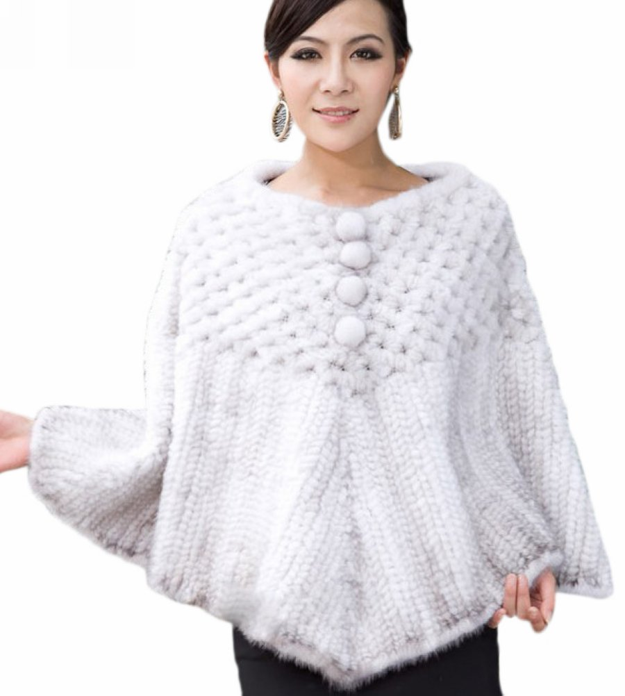 Queenshiny Women's 100% Real Genuine Mink Fur Knitted Cape Coat-White