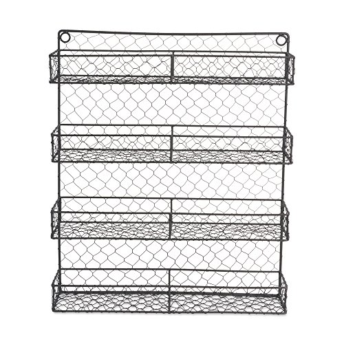 DII Z01920 Farmhouse Vintage Metal Chicken Wire Spice Rack Organizer for Kitchen Wall, Pantry Or Cabinet, Antique Finish, Large17 x4.75''x20'', 4 Tier Double Shelf Depth Rustic by DII