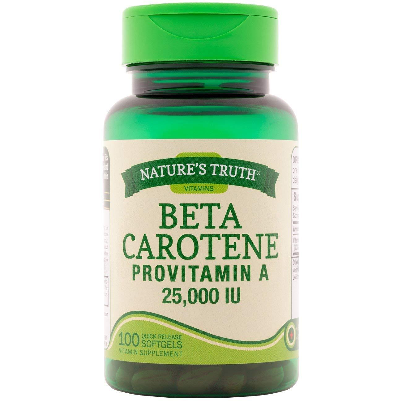 Nature's Truth Beta Carotene 25,000 IU Vitamin Supplement - 100 Softgels, Pack of 2