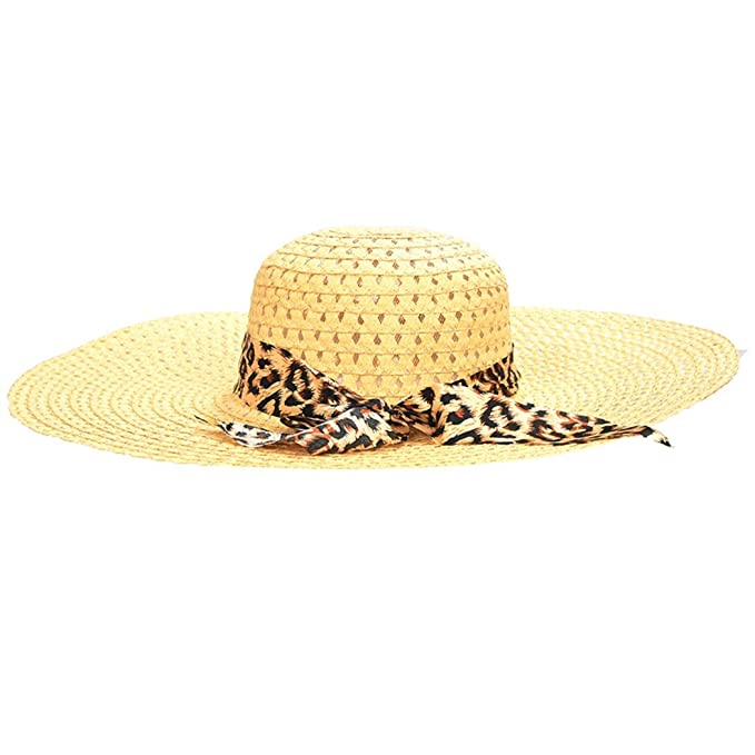 4e76bbb16aa6c Image Unavailable. Image not available for. Color  Women s Beige Summer  Exquisite Leopard Ribbon Straw Hat Bowknot Decorated Openwork Sun Hat
