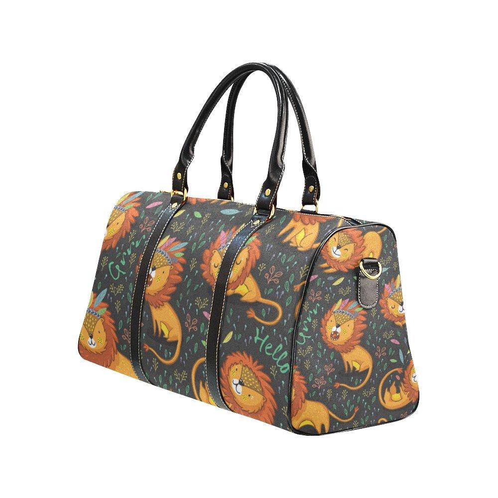 Waterproof Travel Duffel Bag Womens Weekend Bag Cartoon Lions Mens Luggage Bag For Gym Sports Overnight Trip