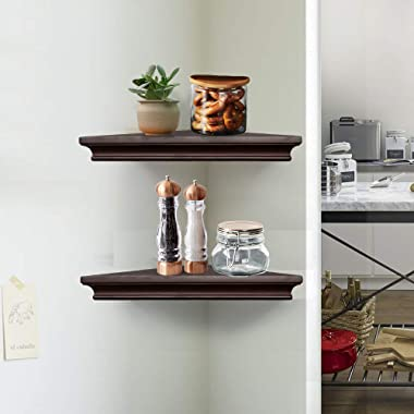 AHDECOR Espresso Brown Corner Wall Shelves, Wall Mounted Floating Corner Shelf for Home Décor, 2-Pack