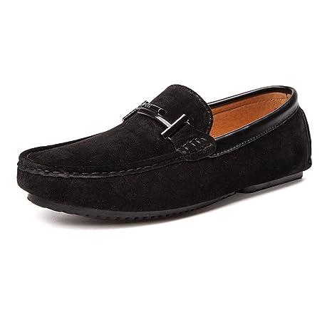 Hongjun-shoes, Mocasines de conducción livianos para Hombres Cuero Genuino Vamp Penny Slip-
