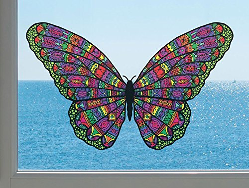 (Patterned Butterfly - See-Through Vinyl Window Decal - Copyright Yadda-Yadda Design Co. (Size and Color Choices) (LARGE, 11