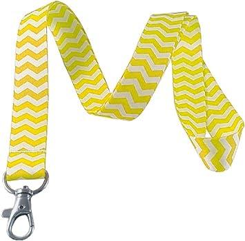 Yellow Fabric Badge Holder Gray Lanyard YELLOW GRAY Fabric Lanyard Yellow and Gray Lanyard