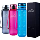 KOBONA 1-Litre Motivational Smart Water Bottle with Time Markings Hydration Tracker - Wide Mouth for Ice, Fruit Sieve for Infusion, Leak Proof, BPA Free USA Tritan Material, for Gym Fitness