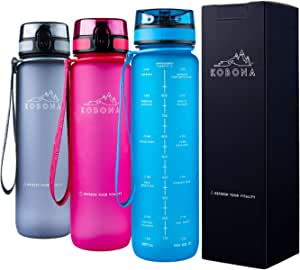 KOBONA 1L Motivational Smart Water Bottle with Time Marking Hydration Tracking Reminder for Sports Fitness - Wide Mouth for Ice, Fruit Infuser, Leak Proof, Light-Weight BPA Free USA Tritan Material