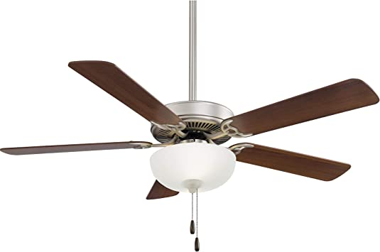 Brushed Steel Minka Aire F448L-BS Contractor II Uni-Pack 52 Ceiling Fan with LED Lights