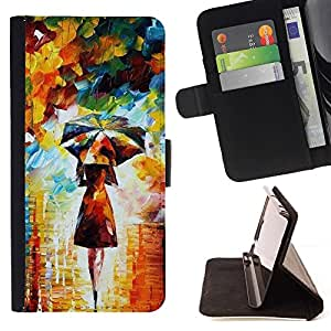 Momo Phone Case / Flip Funda de Cuero Case Cover - Pintura colorida Art Girl Mujer Paraguas - LG G2 D800