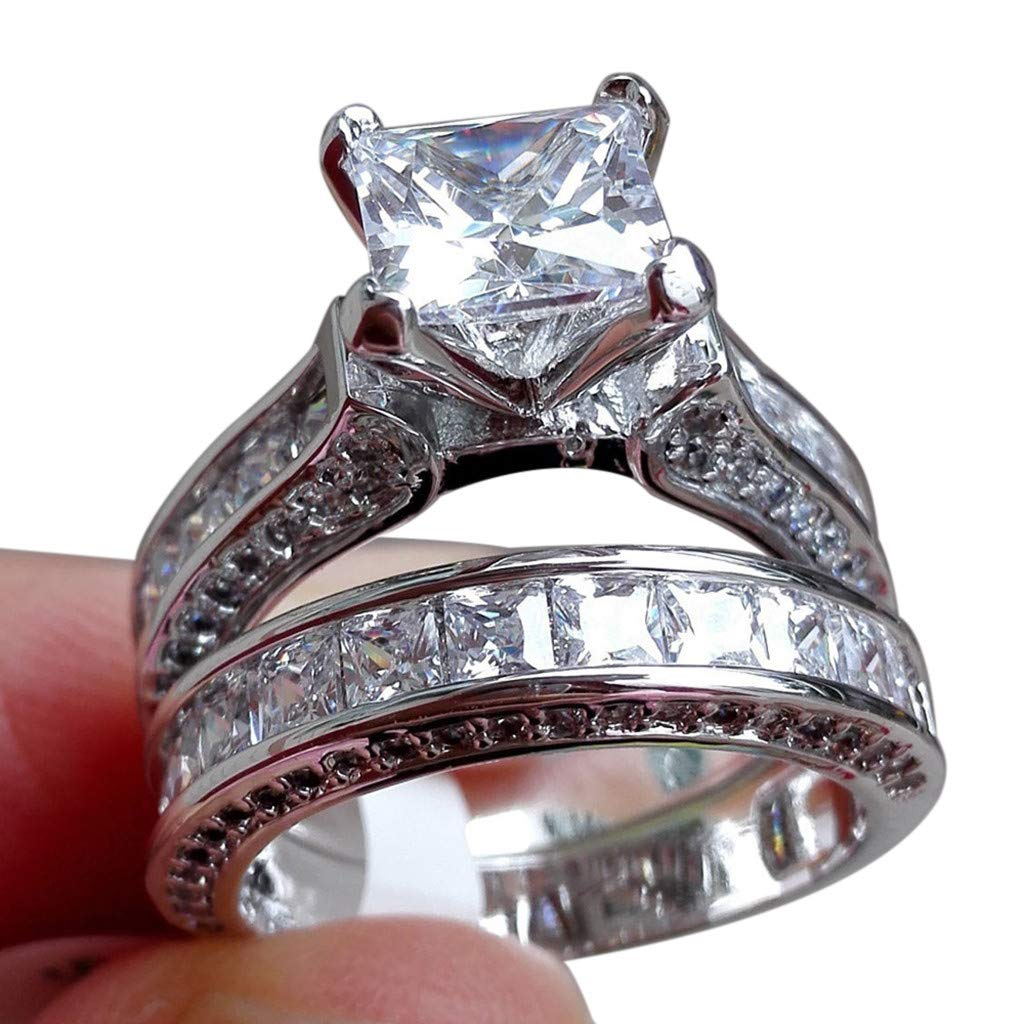 BSGSH Square Rhinestone Rings Wedding Party Statement CZ Cocktails Silver Plated Classic Fashion Ring Sets Size 6-10