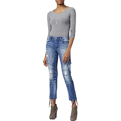 e385258d676 Amazon.com  True Religion Women s Halle Super Skinny Cargo Moto Jeans in  Cast Off (23