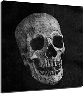 LevvArts - Halloween Day of Dead Skull Canvas Wall Art Abstract Black and White Skull Picture Print Home Decor for Living Room Contemporary Art Design Modern Mexican Decorations Gallery Canvas Wrapped