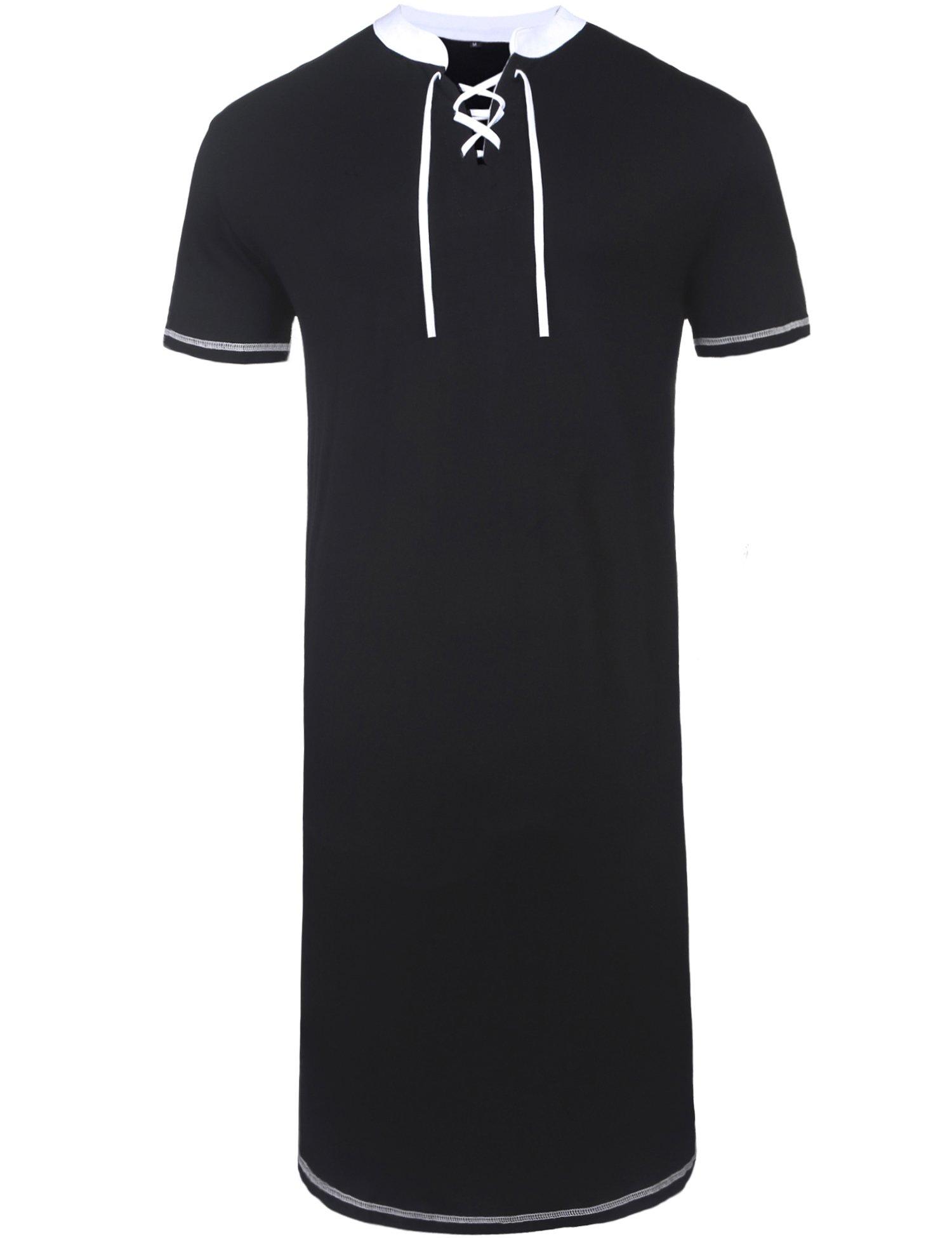 Daupanzees Men's Nightshirts Kaftan Night Shirt Short Sleeve Sleepwear Henley Sleep Shirt (Black M)