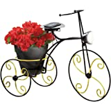 Collections Etc Solar-powered Metal Bicycle Garden Planter, Black