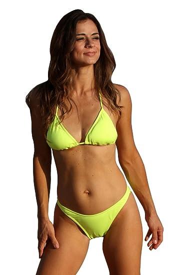 5732c7bec1c9b Amazon.com: BOTTOM ONLY Neon Lemon Lime Brazilian Bikini: Clothing