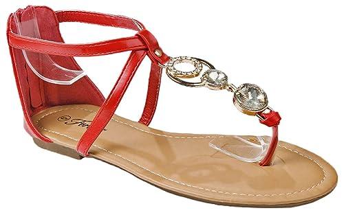 922846a08 Women Janiya Red Golden Chain Rhinestone T-Strap Gladiator Comfort  Cushioned Zipper Thong Sandals-
