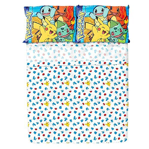 Pokémon Kids Twin Sheet Set - Fitted Sheet, Flat Sheet, Reversible Pillowcase