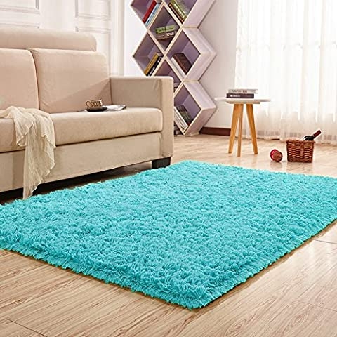 Noahas Super Soft 4.5cm Thick Modern Shag Area Rugs Fluffy Living Room Carpet Comfy Bedroom Home Decorate Floor Kids Playing Mat 4 Feet by 5.3 (Kids Orange Rug)