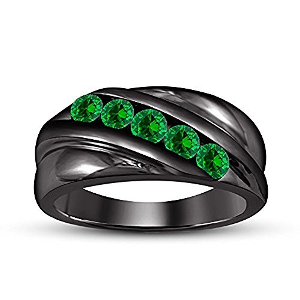 Gold /& Diamonds Jewellery 14k Black Gold Plated 925 Sterling Silver Round Cut Created Green Emerald Five Stone Mens Wedding Band Anniversary Ring