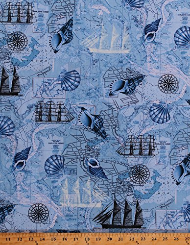 Cotton Ocean Maps Tall Ships Compass Roses Sea Harbors Cartography Seashells Full-Rigged Ship Schooner Nautical Naval Blue Cotton Fabric Print by the Yard - Map Seashell