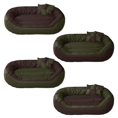 BedDog 4 en 1 Sunny Verde/Marron XXL Aprox. 110x80cm colchón para Perro,