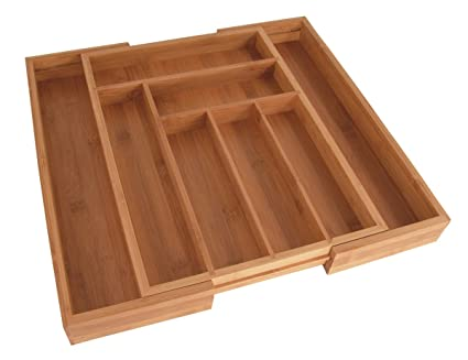 Totally Bamboo Large Expandable Cutlery Tray & Drawer Organizer