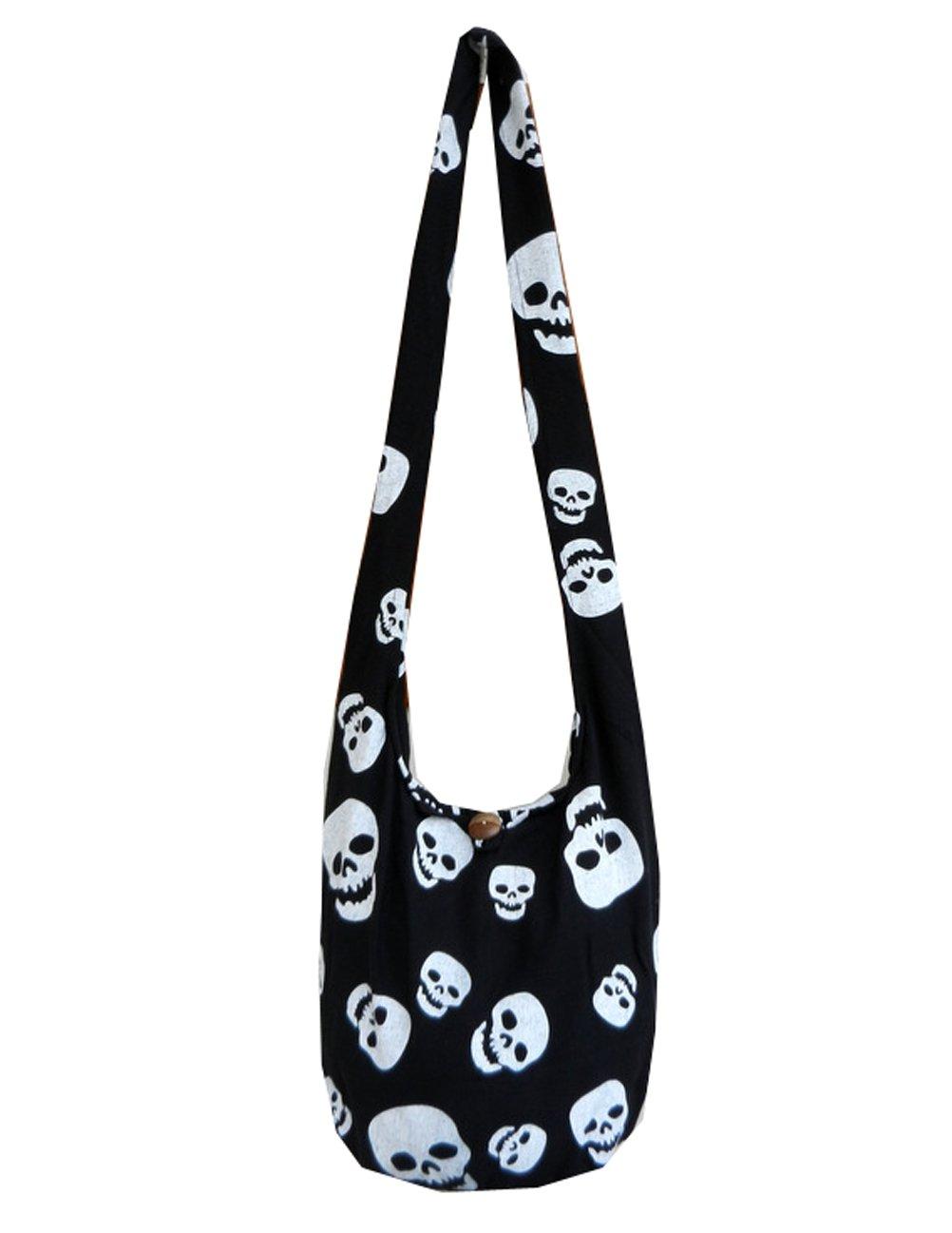 BTP! Skull Punk Rock Hippie Hobo Thai Cotton Sling Crossbody Bag Messenger Purse Small (Black SKS5) by BenThai Products