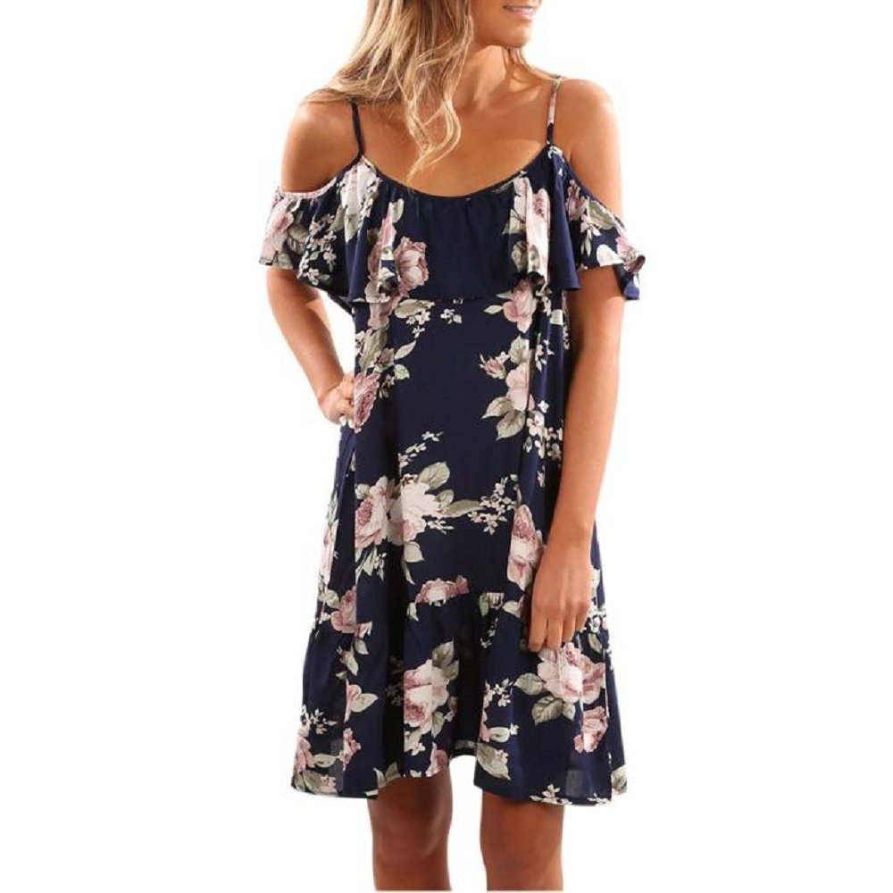 OVERDOSE Damen Sommerkleid Blumen-Rüsche Kleid Helter Kleider Weg vom Schulter Minikleid Strand Partei Kleid