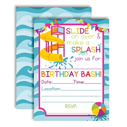 Waterslide Summer Fun Birthday Party Invitations For Girls Ten 5quotx7quot Fill In